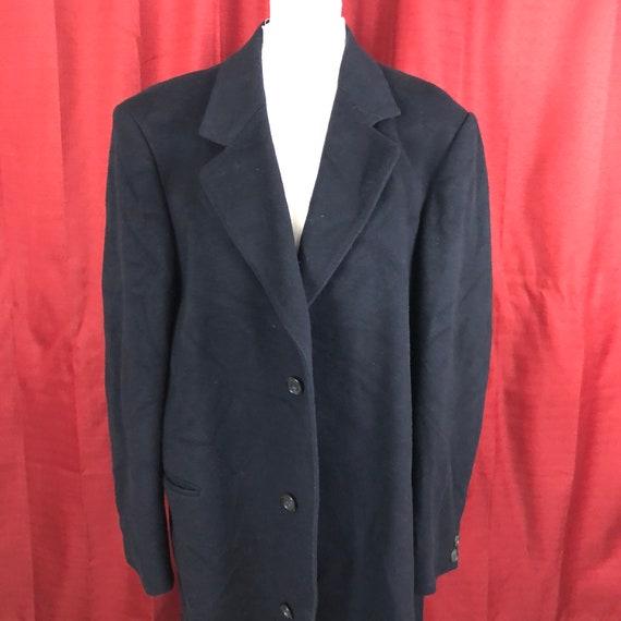 Vintage Navy Blue Mens Long Wool Coat Medium