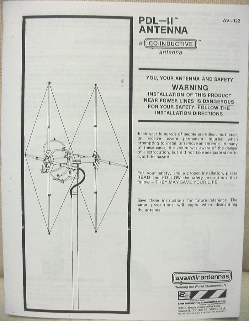 Antenna Specialists AV-122 PDL-2 Beam Antenna Instruction Manual
