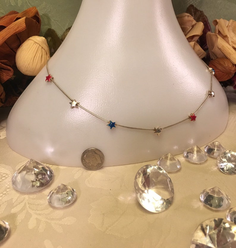 Vintage American spirit sterling silver red white and blue star necklace Fourth of July puffy star collarbone usa America flag 925 17 inches