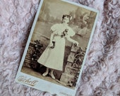 Antique Victorian cabinet card photo, beautiful young girl at her communion holding bible Chicago