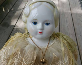 Antique low brow China head doll bust blonde hair