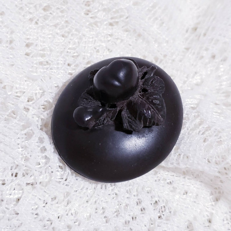 Antique gutta percha Victorian carved mourning locket with fruits and original photo pendant
