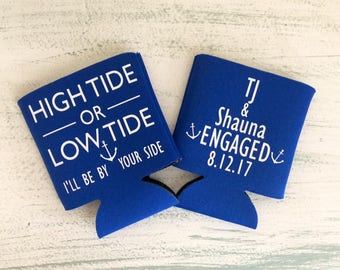 Engagement Can Coolers//Congratulations Can Coolers//Engagement Party//Custom Can Coolers//Personalized Can Coolers//High Or Low Tide