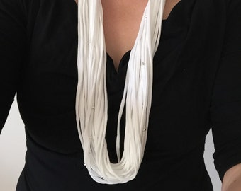 White scarf necklace. Infinity scarf. Cotton scarf. Bead scarf necklace. Gift for her. Light scarf. Gift for her. Modern jersey scarf