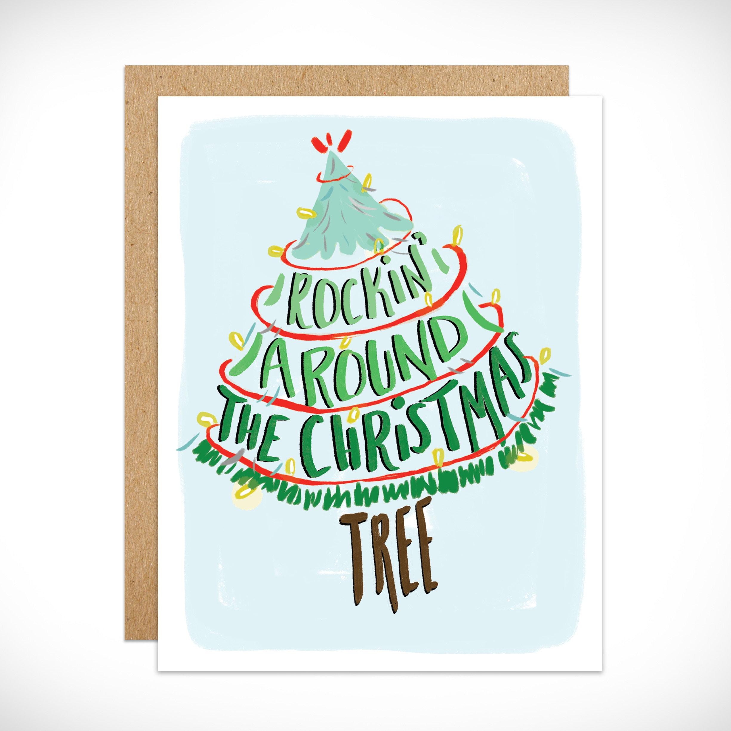 Holiday Card Rockin Around the Christmas Tree Winter