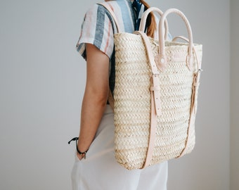boho backpack Straw Beach bag with leather strap Hipster backpack Straw backpack