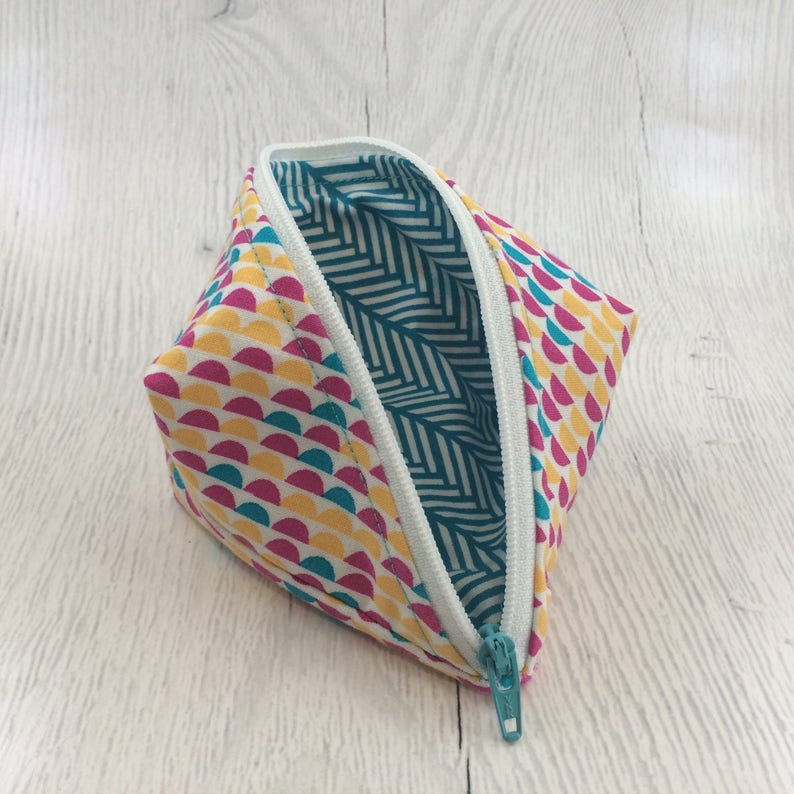 Geometric TurquoiseWhitePink Peapod Pouch Cable Organizer
