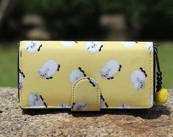 Credit Card Holder Wallet Fluffy Sheep  - Bifold Yellow Wallet Purse,Womens Wristlet wallet,farmers Wife gift Wallet,Cotton Fabric wallet