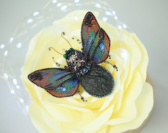"""Embroidered brooch  insect """"GothicButterfly """" textile jewelry 3D with silk thread, pearls"""