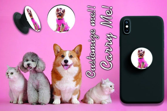 Popsocket grip popgrip custom accessory customized with your photography Support phone footprint with image of your pets