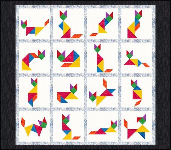Tangram Cats 16 Quilt Block Patterns Foundation Paper Etsy