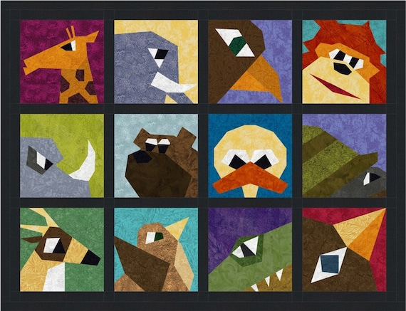 Quirky Animal Close Ups 12 Quilt Block Patterns Foundation
