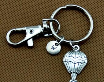 Metal Enamel Hot Air Balloon Key Ring// Purse Charm// Zipper Pull// Key Chain