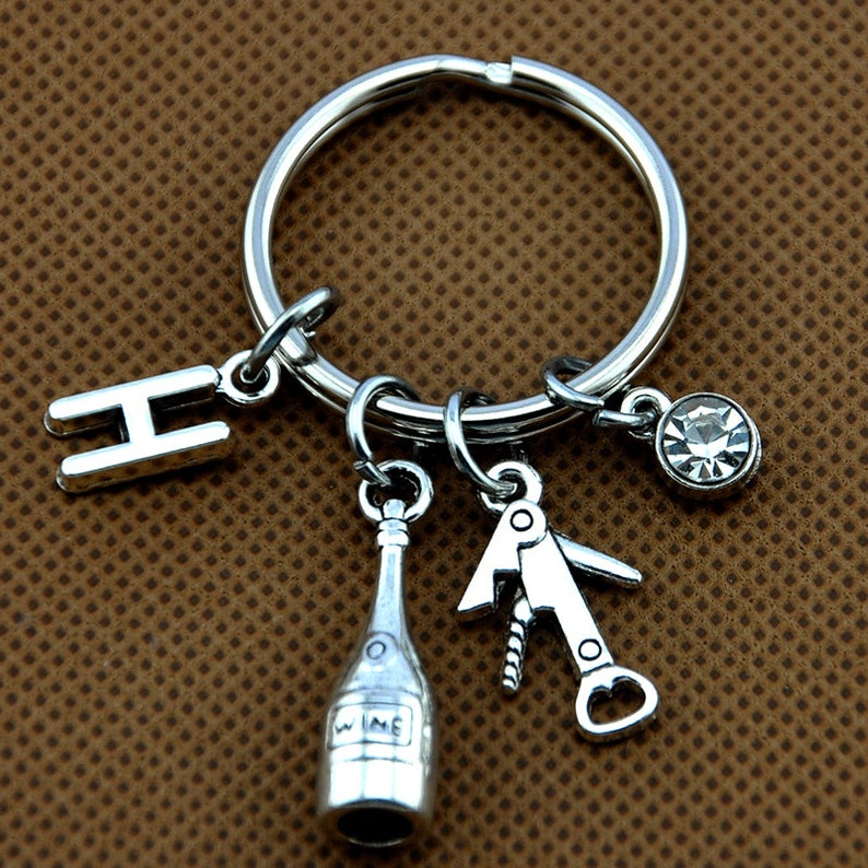 Personalized Women initial gift Best Friend Gift Wine lovers gift Personalized Key Ring-378-713 Bottle opener Keychain Wine waiter gift