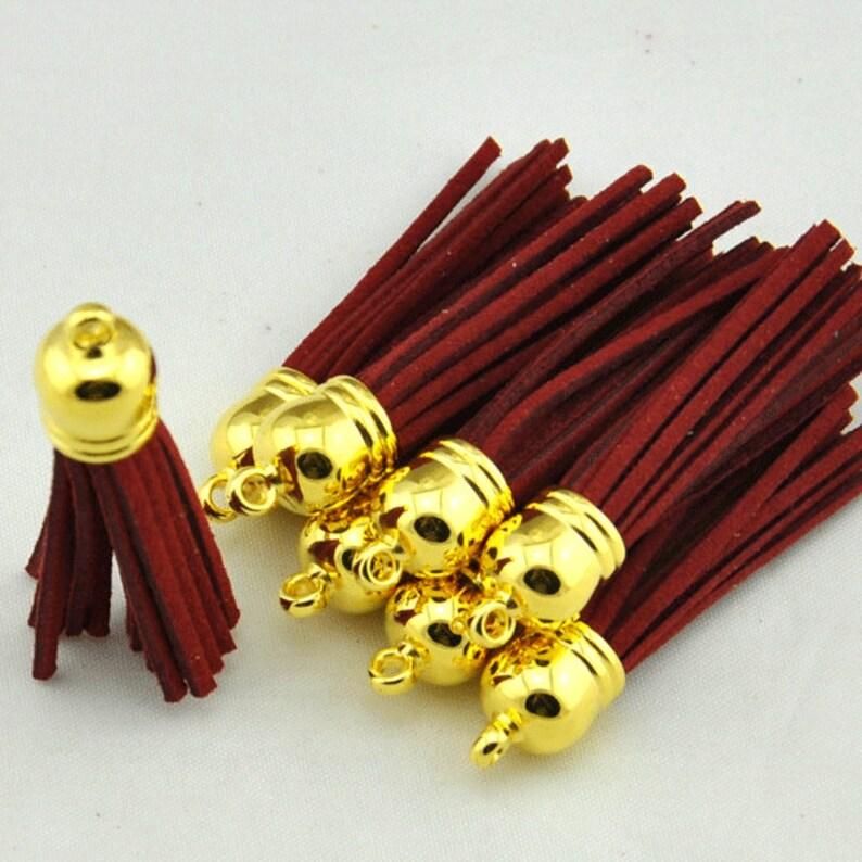 Tassels Pendant,Dark red Leather Tassel Fiber Tassel Fringe Tassel with 12mm Gold plated Cap  alloy Cap Charms--58mm Long Tassels Pendant.