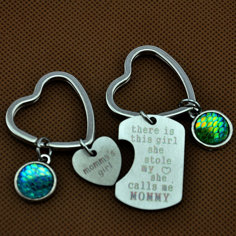 There Is This Girl-She Stole My Heart-She Calls Me Mommy Keychain mommy/'s girl,Mother/'s Day Gift,Mommy/'s Girl Matching Heart Keychain