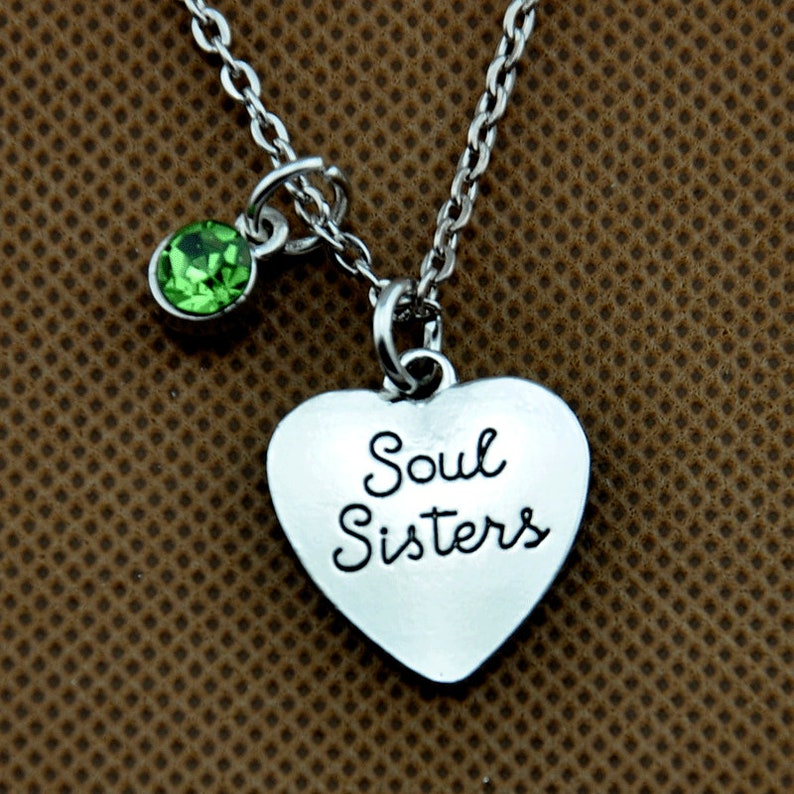Soul Sister Custom Birthstone Necklace Best Friend Jewelry Soul Sister Necklace