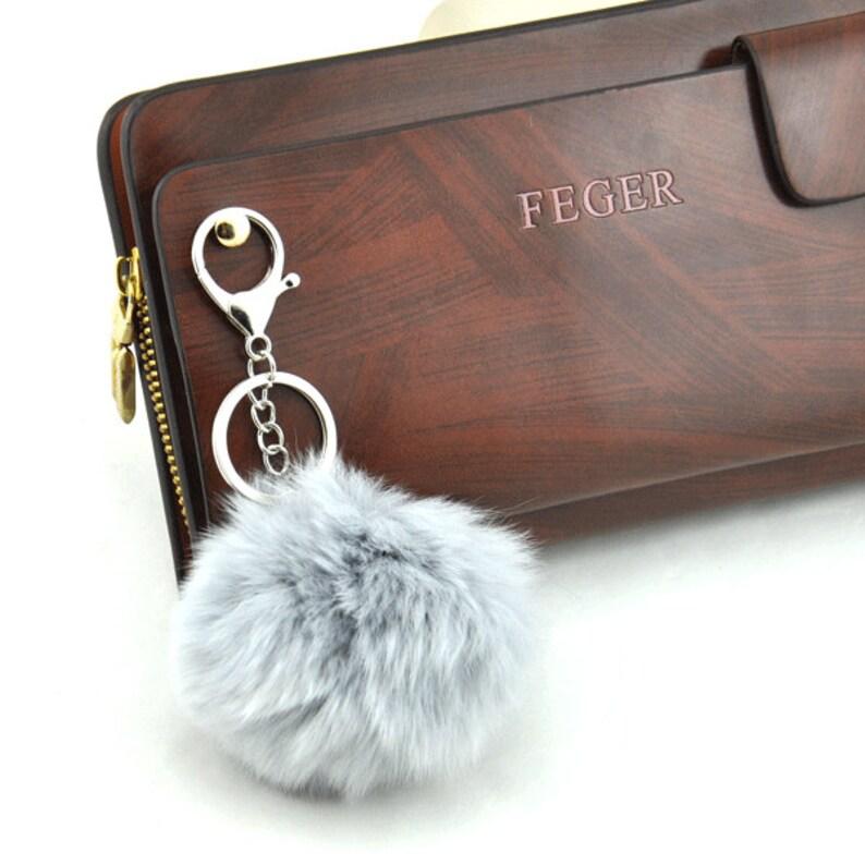 38aad7b34ab9 Grey Cute Genuine Rabbit fur ball pom pom keychain for car key