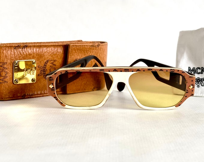 Vintage 1980s MCM G8 Genuine Buffalo Horn Sunglasses – Including MCM Cognac Visetos Genuine Leather Case – Made in West Germany
