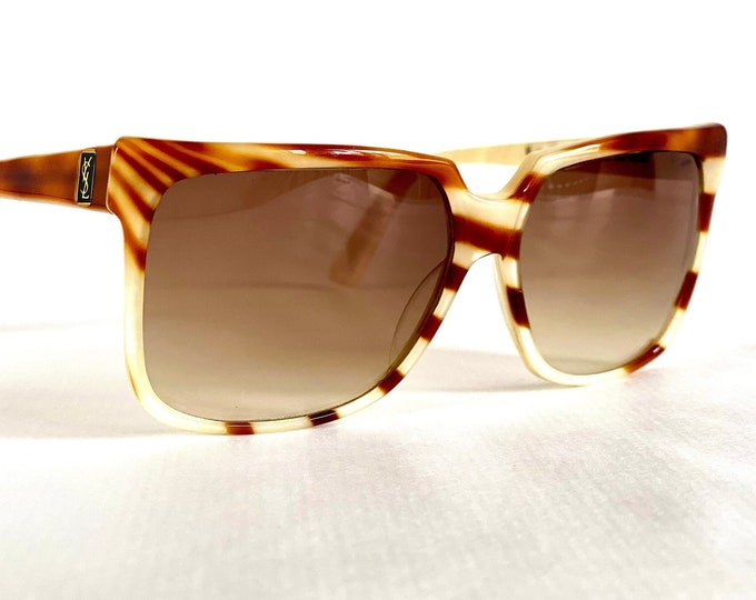 Vintage 1980s Yves Saint Laurent YSL167 Butterscotch 20 Sunglasses – Made in France – New Old Stock