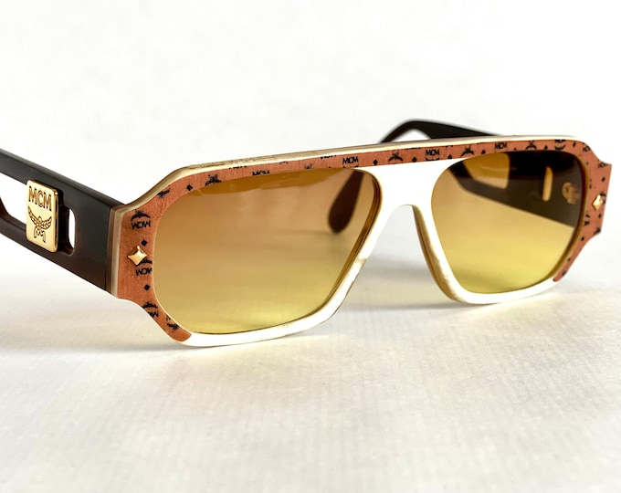 Vintage 1980s MCM G8 Genuine Buffalo Horn Sunglasses – Including MCM Cognac Visetos Genuine Leather Case – Made in West Germany