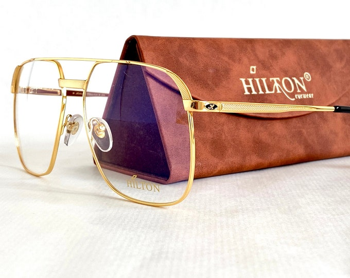 Vintage 1980s Hilton 24K Gold Plated Class 010 Sunglasses – New Old Stock – Made in Italy – Including Case