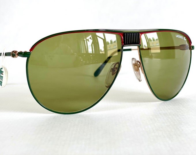 Vintage 1980s Lacoste 191 L633 Sunglasses – Made in France – New Old Stock – Including Genuine Leather Case