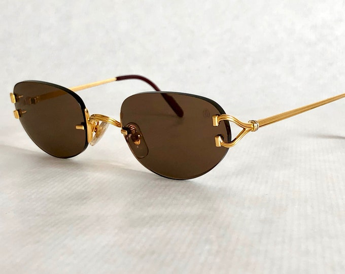 Cartier Portofino 22K Gold Vintage Sunglasses – Full Set with 2 Cases – New Old Stock