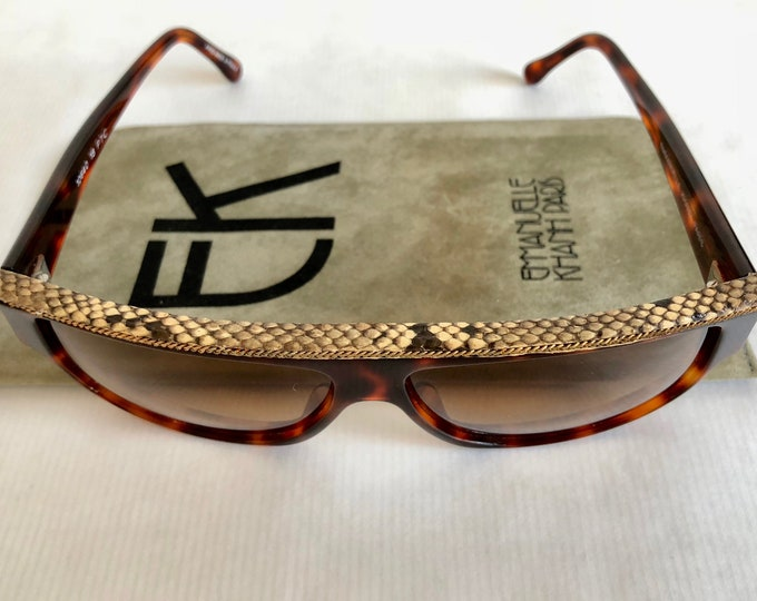 Emmanuelle Khanh 10640 Python Skin Gold Chain Vintage Sunglasses Made in France New Old Stock