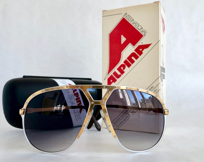 Alpina M1 Silver 24K Gold Vintage Sunglasses – Made in West Germany – New Old Stock – Including Case and Box