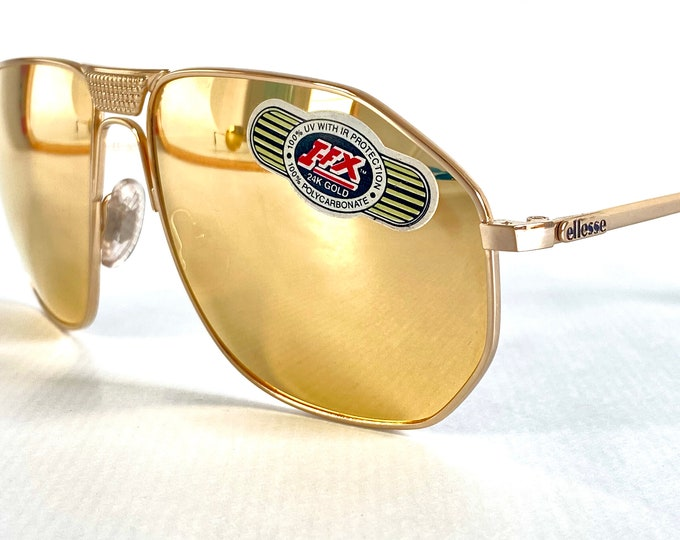Vintage 1980s Ellesse Trophy Sunglasses – 24k Gold Plated Frame and Lenses – Made in Italy – New Old Stock – Including Genuine Leather Case