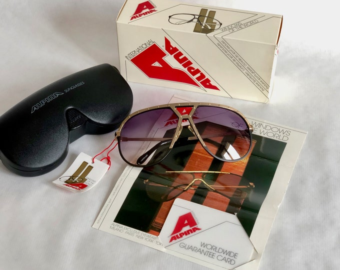 Alpina M1 Grey/Silver/Gold Vintage Sunglasses – Full Set – New Old Stock