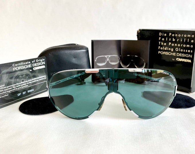 Vintage Porsche Design by Carrera 5629 70 Folding Shield Sunglasses – Full Set – New Old Stock