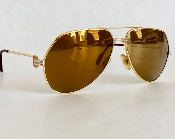 Cartier Vendôme «Grand Pavage» 22k Gold Custom Vintage Sunglasses Including Case & Papers