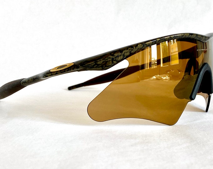 1996 Oakley M Frame Gold Mine Vintage Sunglasses – Full Set Including Gold Iridium Heater and RX Strike Lenses and Sock Kit – New Old Stock