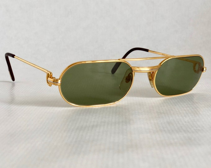 Cartier Must Louis Cartier 18K Gold Vintage Sunglasses Full Set New Old Stock