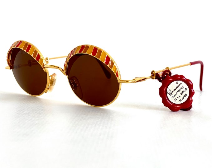 Vintage 1980s Casanova Arché 4 Sunglasses – 24k Gold Plated – New Old Stock – Limited Edition – Inclduing Case and Tag