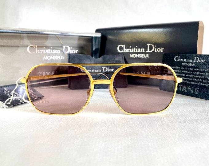 Vintage 1980s Christian Dior Monsieur 20k Gold Plated TITANE 2364 Sunglasses – Full Set – New Old Stock – Made in Japan