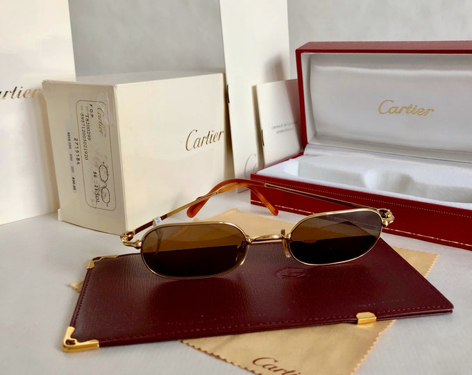 Cartier Deimos Trinity 22K Gold Vintage Sunglasses – Full Set – New Old Stock