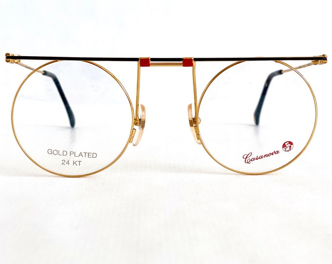 Vintage 1980s Casanova MTC-7 C01 Glasses – 24k Gold Plated – New Old Stock – Including Genuine Leather Softcase