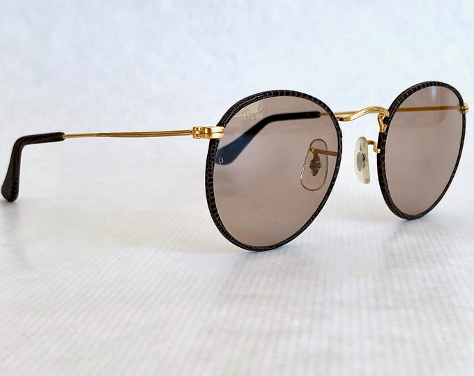 Ray-Ban by Bausch & Lomb W1861 Leathers Snakeskin Ambermatic™ Vintage Sunglasses New Old Stock