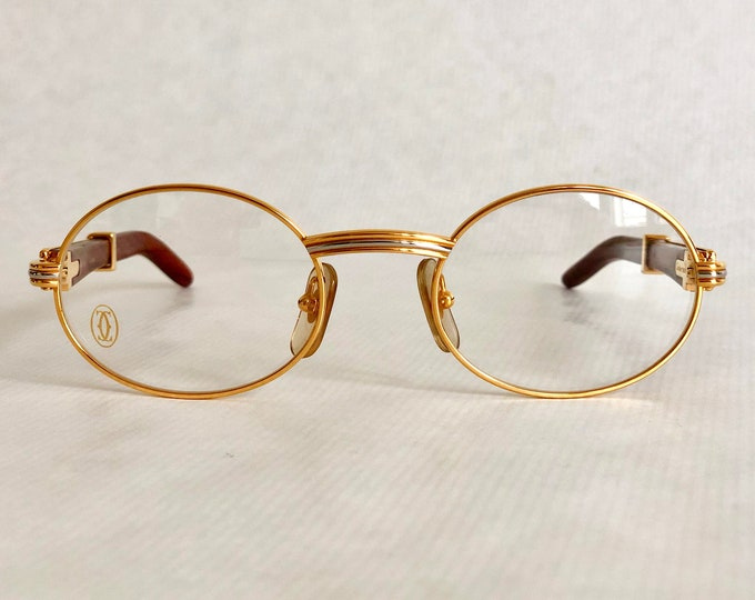 Cartier Giverny 22k Gold Vintage Glasses – Precious Wood – New Old Stock – Full Set