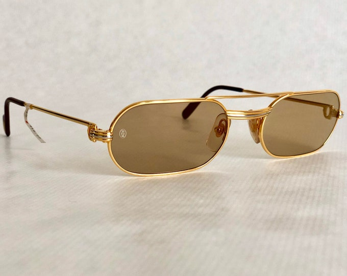 Cartier Must Louis Cartier 22k Gold Vintage Sunglasses Full Set New Old Stock