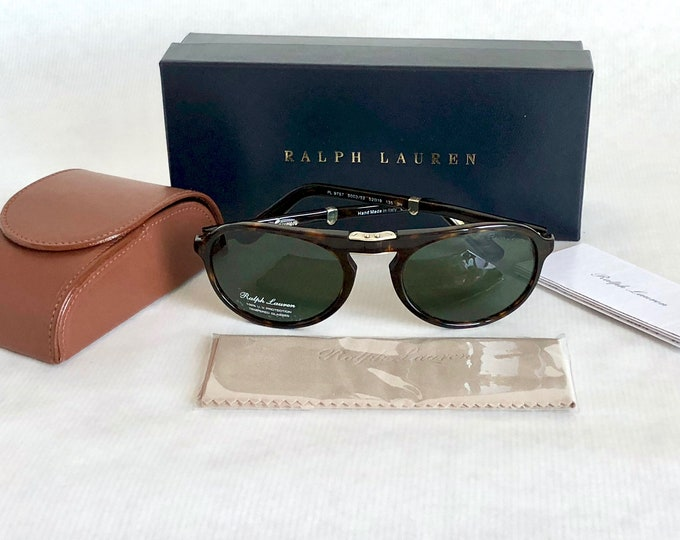 Ralph Lauren Purple Label PL 9757 Folding Vintage Sunglasses New Old Stock Full Set