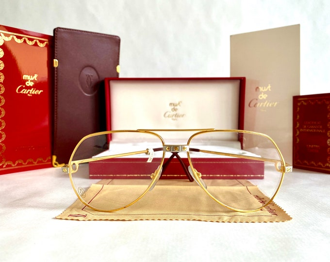 Vintage 1983 First Edition Cartier Vendôme Santos 22k Gold Glasses – Full Set – New Old Stock