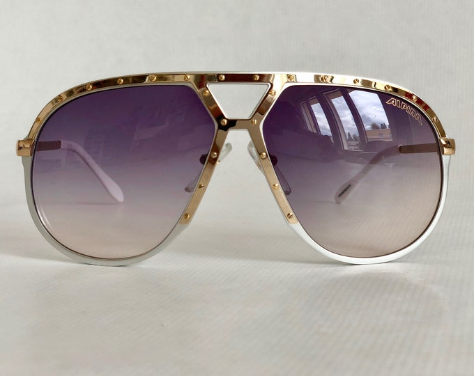 Alpina M1 Silver & 24k Gold Vintage Sunglasses West Germany New Old Stock including Case and Box