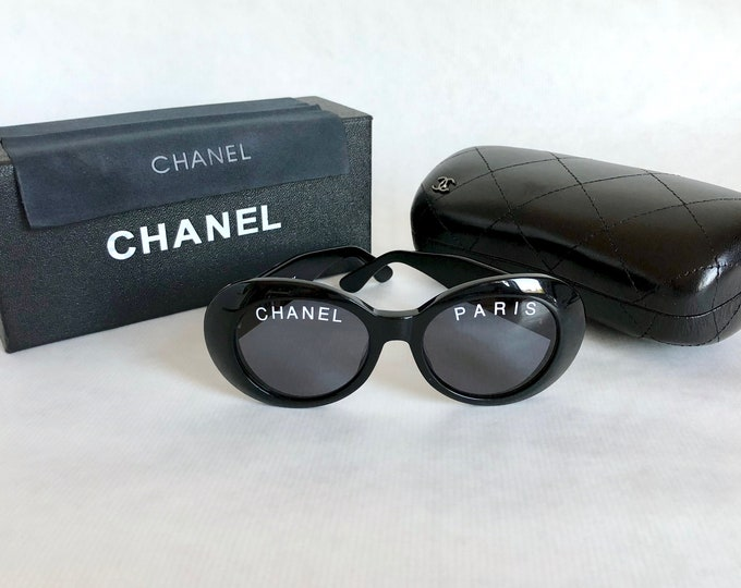 CHANEL 01947 94305 Vintage Sunglasses New Old Stock including Quilted Leather Case, Box and Cloth