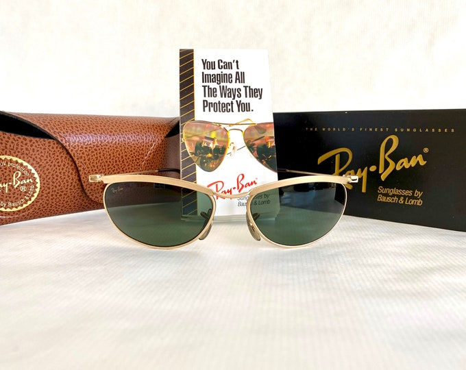 Ray-Ban by Bausch & Lomb New Deco Metals Oval Matte Arista Vintage Sunglasses – New Old Stock – Full Set