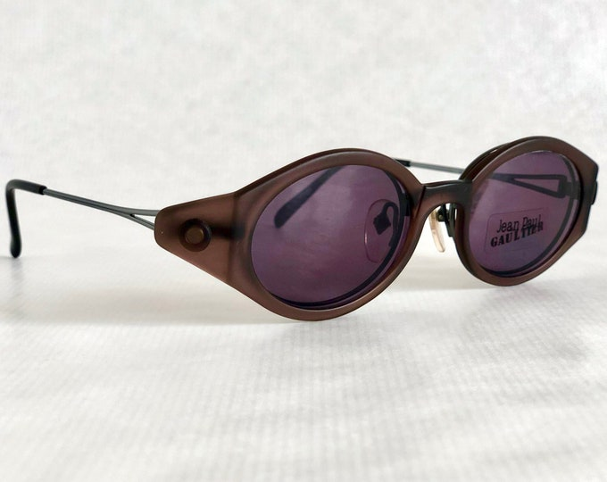 Jean Paul GAULTIER 56 – 7202 Vintage Glasses with Magnet Mounted Sunshield – Made in Japan – New Old Stock