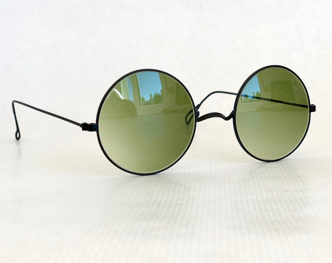 Round Matte Black Vintage Sunglasses New Old Stock Made in France